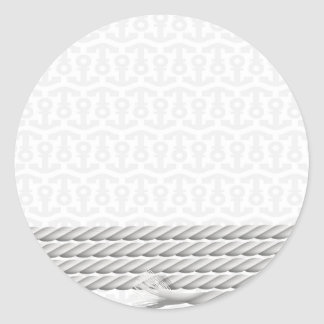 White Nautical Anchor Design with Rope Classic Round Sticker