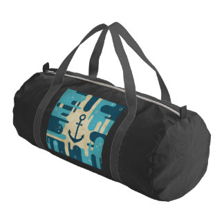 White Nautical Anchor Design with Rope Gym Bag