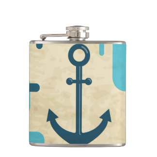 White Nautical Anchor Design with Rope Hip Flask