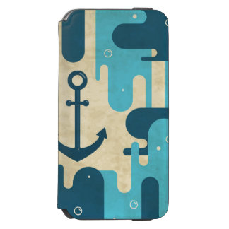 White Nautical Anchor Design with Rope Incipio Watson™ iPhone 6 Wallet Case