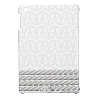 White Nautical Anchor Design with Rope iPad Mini Covers