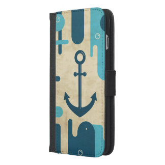 White Nautical Anchor Design with Rope iPhone 6/6s Plus Wallet Case