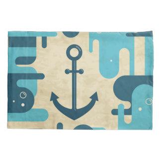 White Nautical Anchor Design with Rope Pillowcase