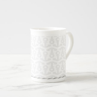White Nautical Anchor Design with Rope Tea Cup
