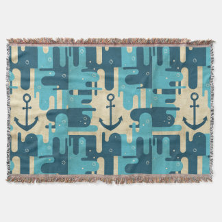 White Nautical Anchor Design with Rope Throw Blanket