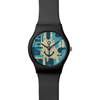 White Nautical Anchor Design with Rope Watch