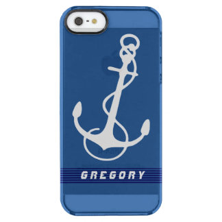 White Nautical Boat Anchor Stripes Accents Clear iPhone SE/5/5s Case