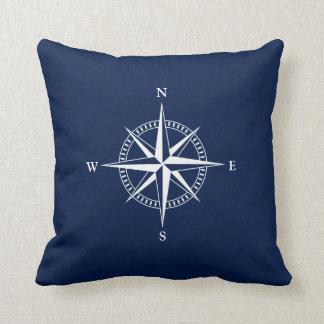 White Nautical Star on Navy Blue Throw Pillow