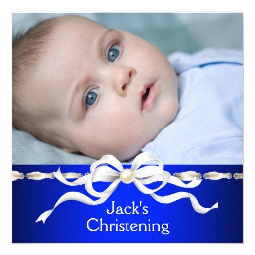 White Navy Blue Baby Boy Photo Christening Personalized Invite