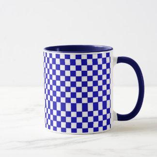 White & Navy Blue Checkers