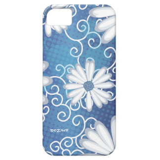 White Navy Blue Floral Tribal Daisy Tattoo Pattern Barely There iPhone 5 Case