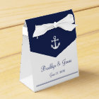 White Navy Blue Nautical Wedding Favour Boxes Tent
