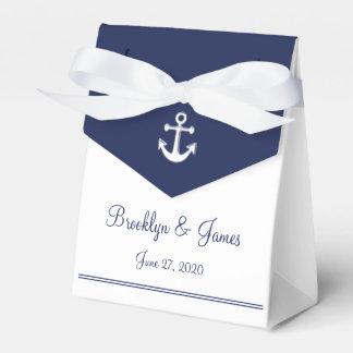White Navy Blue Nautical Wedding Favour Boxes Tent