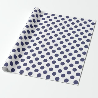White & Navy Blue Polka Dots