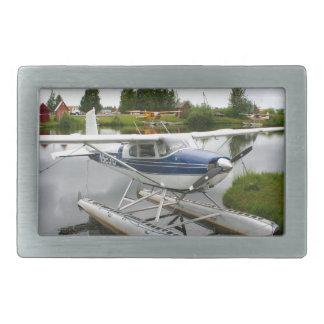 White & navy float plane, Alaska Belt Buckles