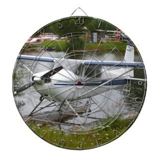 White, navy & grey float plane, Alaska Dartboard