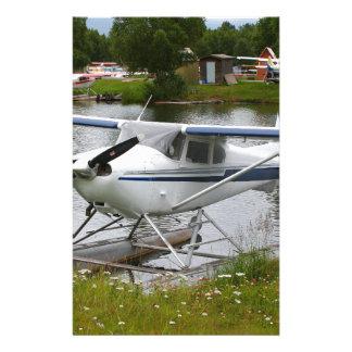 White, navy & grey float plane, Alaska Stationery