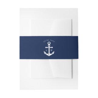 White Navy Nautical Wedding Monogram Invitation Belly Band