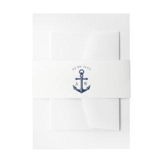 White | Navy Nautical Wedding Monogram Invitation Belly Band