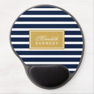 White Navy Stripe Pattern Gold Name Template Gel Mouse Pad