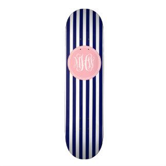 White Navy Vert Stripe 6x Pnk Vine Script Monogram Skate Boards