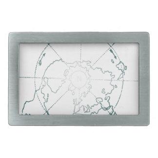 White North Pole AE Map Rectangular Belt Buckle