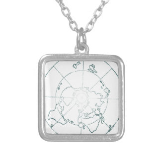 White North Pole AE Map Silver Plated Necklace