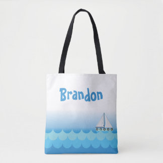 White Ocean Sea Sailboat Boat Blue Water Boy Tote Bag
