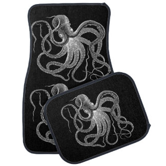 White Octopus Nautical Design Car Mat