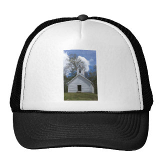 white old church in the mountains mesh hats