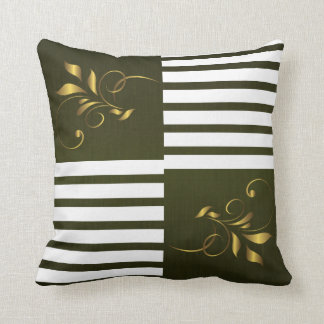 White & Olive Green Stripes with Gold Accents Cushion