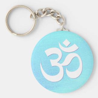 White OM Symbol Turquoise Blue Shimmery Look Key Ring