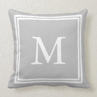 White on Ash Grey Double Frame Monogram Cushion