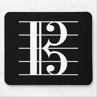 White-on-Black Alto Clef Mouse Pad