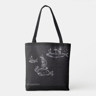 White on black bag