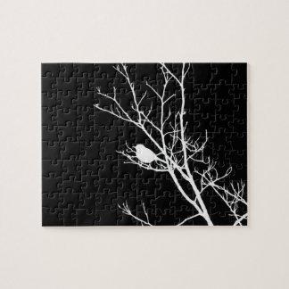 White On Black Bird Silhouette - Jigsaw Puzzle