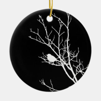 White On Black Bird Silhouette - Round Ceramic Decoration