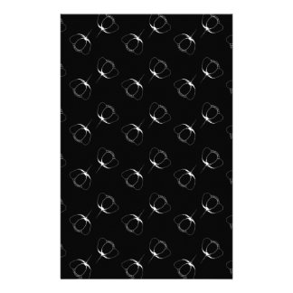 white on black buttercup stationery design
