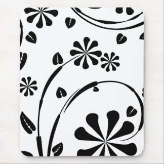 White on Black Daisy Flower Pattern Mouse Pad