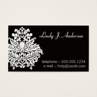 White on Black Damask Personal Card