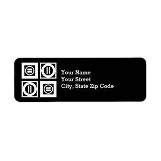 White on Black Equal Sign Geometric Pattern Label Return Address Label