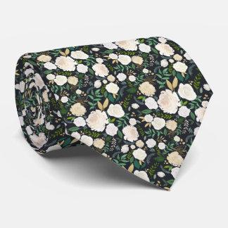 White On Black Garden Midnight Floral Tie