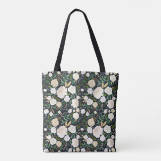 White On Black Garden Midnight Floral Tote Bag