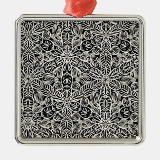 White on black kaleidoscope print Silver-Colored square decoration