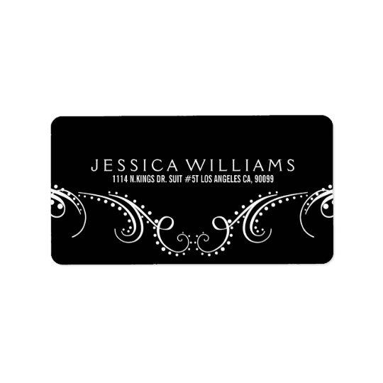 White On Black Ornate Floral Frame Address Label