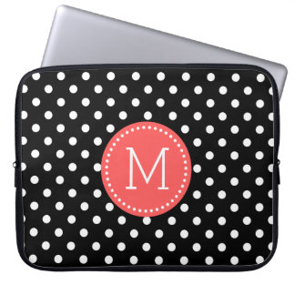 White On Black Polka Dot Coral-red Accents Laptop Sleeve