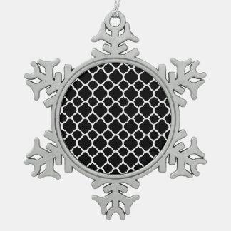 White on Black Quatrefoil Pewter Snowflake Decoration