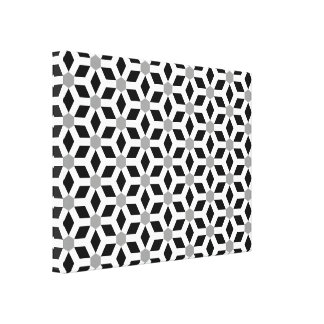 White on Black Tiled Hex Canvas Stretched Canvas Print