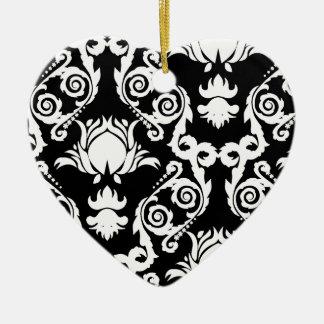 White on Black Tulip Damask Christmas Ornaments