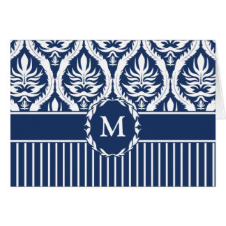 White on Blue Bold Damask Greeting Card
